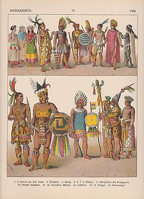 Mexiko Indianer Indios Trachten um 1500 Indianerschmuck LITHOGRAPHIE von (Trachten Von Mexiko)