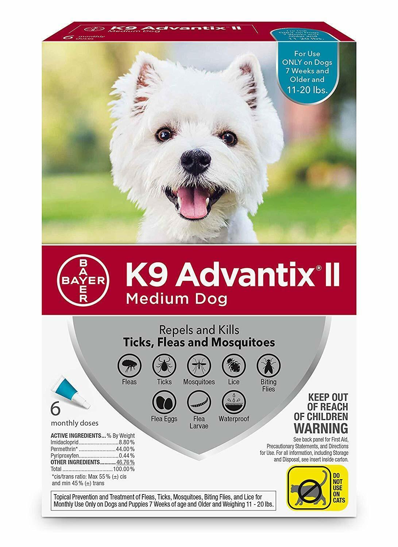 K9 Advantix II for Medium Dogs 11-20 lbs - 6 Pack - NEW