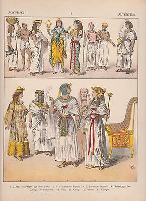 Ägypten Trachten Mode Altertum König Priester Königin LITHOGRAPHIE von 1882 (Ägypten Trachten)