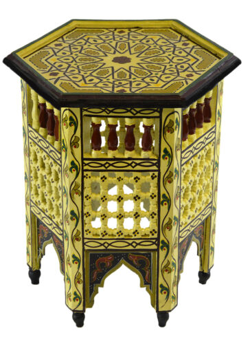 Moroccan Table Wood End Table Coffee Middle East Arabesque Decor Handmade
