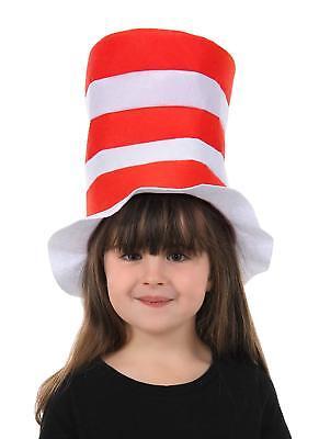 Cat in Hat Dr. Seuss Felt Stovepipe Hat Fancy Dress Halloween Costume Accessory - Cat In Hat Halloween Costume