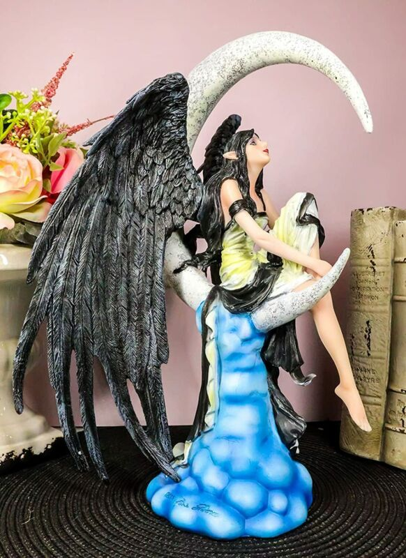 "Ebros Gift 12.5""H Moon Stargazer Black Wing Fairy Hand Painted Resin Figurine"