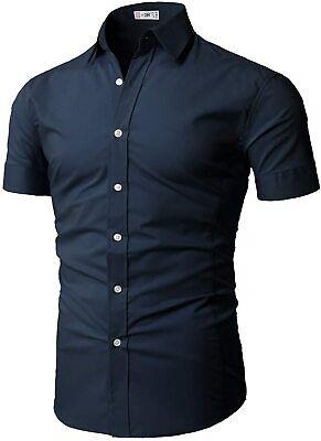 H2H Mens Dress Shirts Slim Fit Short Sleeve Business Shirt B