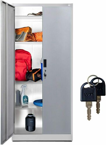 "Fedmax Metal Storage Cabinet - 71"" Tall w/Locking Doors & Adjustable Shelves"