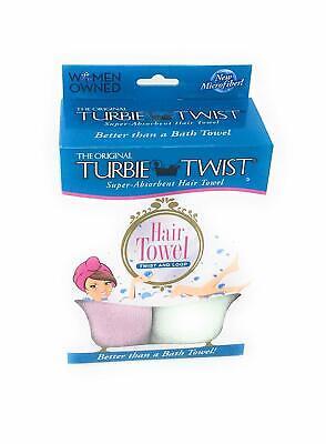 Turbie Twist Microfiber Super Absorbent Hair Towel 2 Pack Green Purple