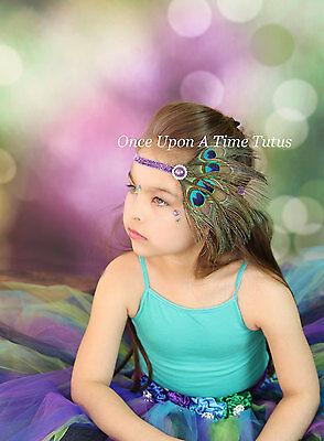 Peacock Feather Newborn Shabby Flower Headband - Baby Girl Costume Gift Hair Bow - Flower Baby Costume