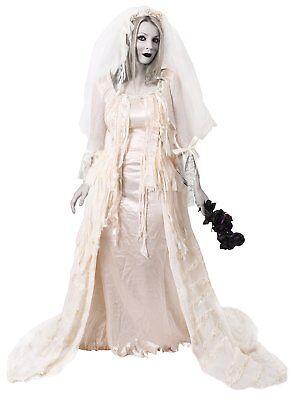DELUXE GEISTERBRAUT KOSTÜM HALLOWEEN BALLKLEID WEISSE FRAU MISS FASCHING (Weißes Kleid Halloween Kostüm)