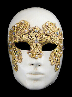 Mask from Venice Volto Macrame Golden Female Carnival Venetian Paper Mache 216