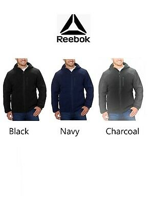 Reebok Mens Hybrid Softshell Fleece Hooded Jacket Black, Navy, Charcoal Variety