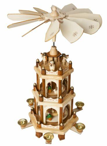 BRUBAKER Christmas Pyramid 18 Inches - Wood - Nativity Play - 3 Tier Carousel