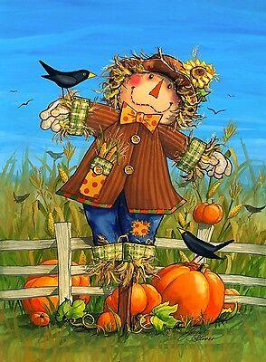 """October Scarecrow Fall Garden Flag Harvest Crows Autumn 12.5"""" x 18"""""""