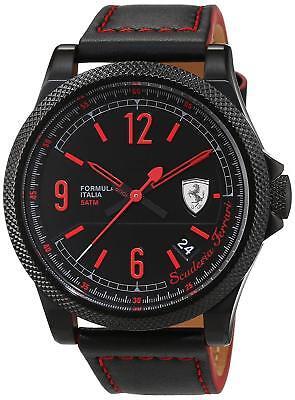 Ferrari Men's 830271 Formula Italia 44mm Black IP Leather Watch 0830271