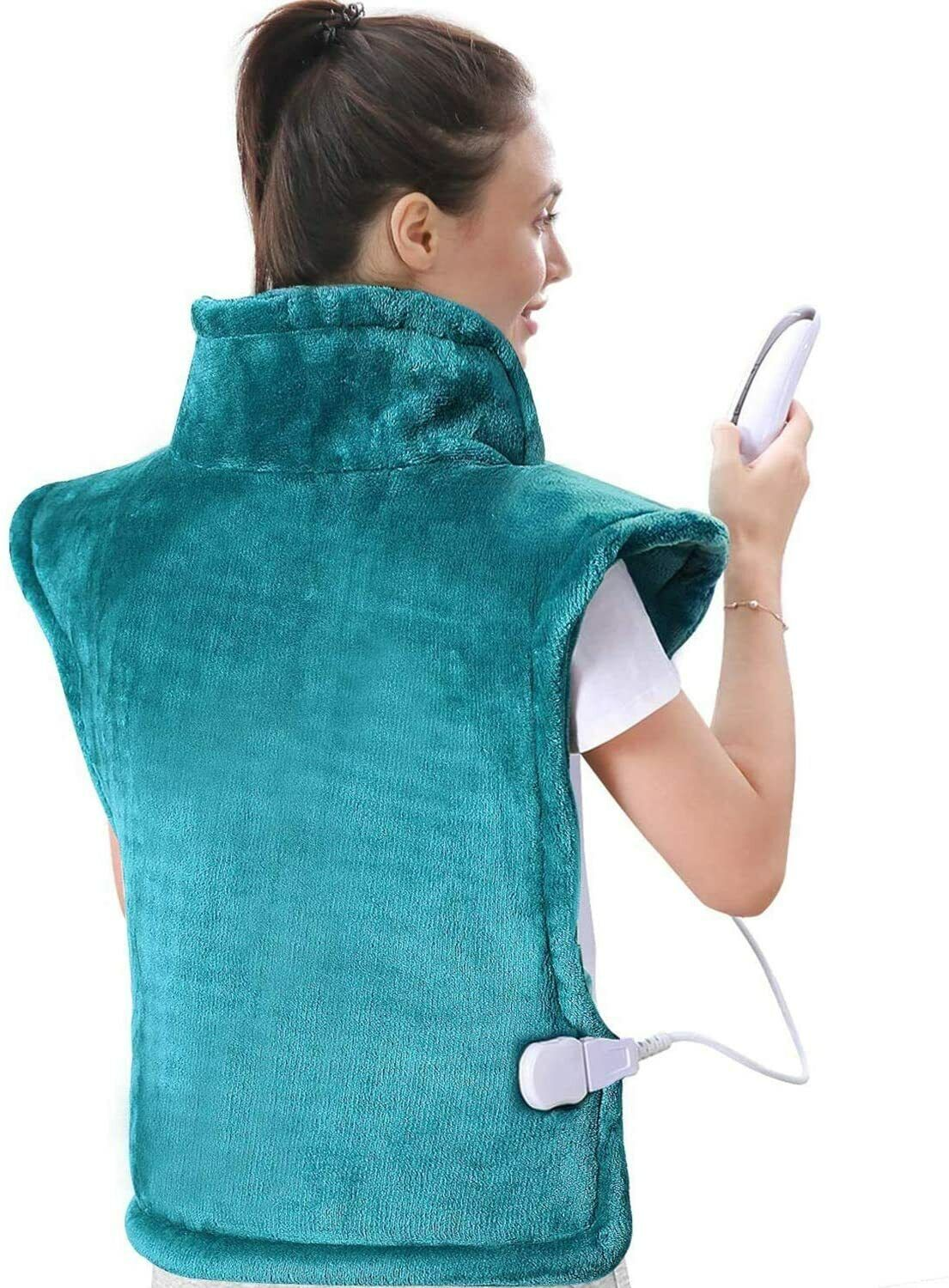 Therapeutic Heat & Vibration Massage for Back and Shoulder with Fast-Heating Electric Heating Pads
