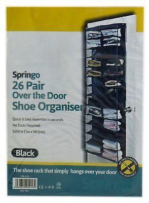 26 Pocket Over The Door Hanging Shoe Organiser Black