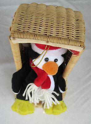 lustiges Deko-Plüschtier Pinguin im Strandkorb 25cm  - - Urlaub Im Freien Dekorationen