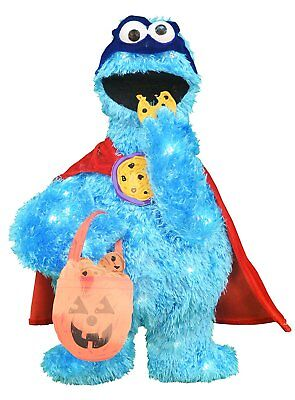 24-Inch Pre-Lit Sesame Street Cookie Monster Halloween Yard Decoration - Decorated Halloween Cookies
