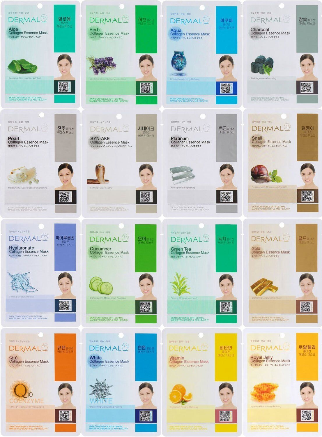 DERMAL Collagen Essence Full Face Facial Mask Sheet, 16 Comb