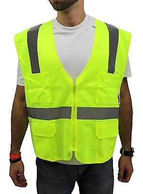 Xl Ansi Class 2 Reflective Tape High Visibility Yellow Safety Vest