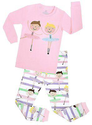Elowel Girls Ballerina 2 Piece Kids Pajamas 100% Cotton Size -