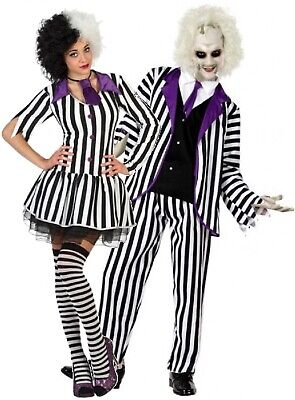 Crazy Ladies Costumes (Couples Ladies & Mens Striped Crazy Ghost Film Halloween Fancy Dress Costumes)