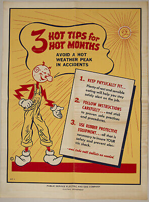 Rare 1940s World War II-Era Reddy Kilowatt Electric Company Safety Poster Fine