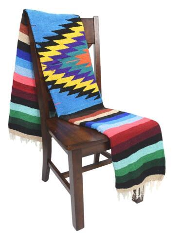 Mexican Blanket Vintage Style Native Diamond SKY BLUE Serape Saltillo Falsa