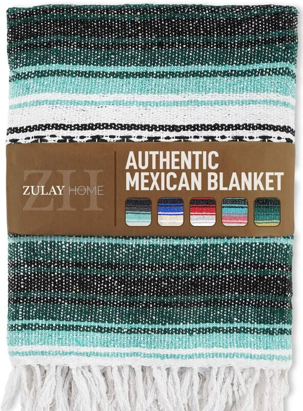Zulay Home Hand Woven Mexican Blankets - Artisanal Boho Blanket Mexican Blanket