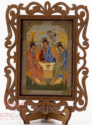 Wooden Christian Icon of Holy Trinity consecrated Святая Троица