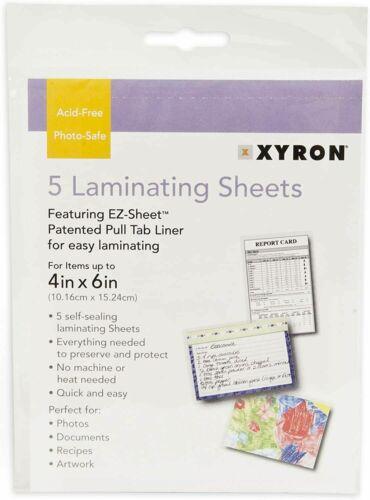 Xyron NO HEAT 4x6 Laminating Sheets 5 pack EZ Sheet - no machine needed