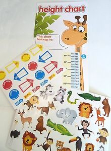 Height Chart Children Kids Giraffe Animal Design - 40 Stickers Included