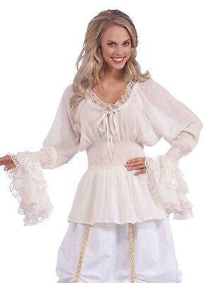 Medieval White Blouse Victorian Saloon Girl Plus Size Womens Costume Accessory