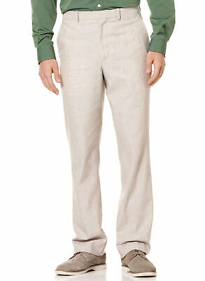 Perry Ellis Big & Tall Khaki Beige Natural Linen Cotton Flat Front Dress Pants ()