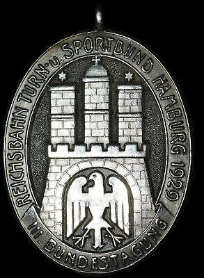 HAMBURG: Silber-Medaille 1929. REICHSBAHN TURN- & SPORTBUND - III. BUNDESTAGUNG.