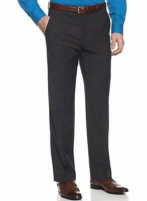 Alfani RED Slim Fit Charcoal Gray Striped Flat Front Wool Blend Dress Pants