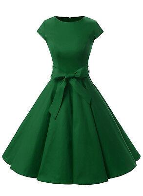 Women Vintage 50s Polka Dot Solid Color Print Prom Swing Dress O-Neck with Belt](50s Polka Dot)