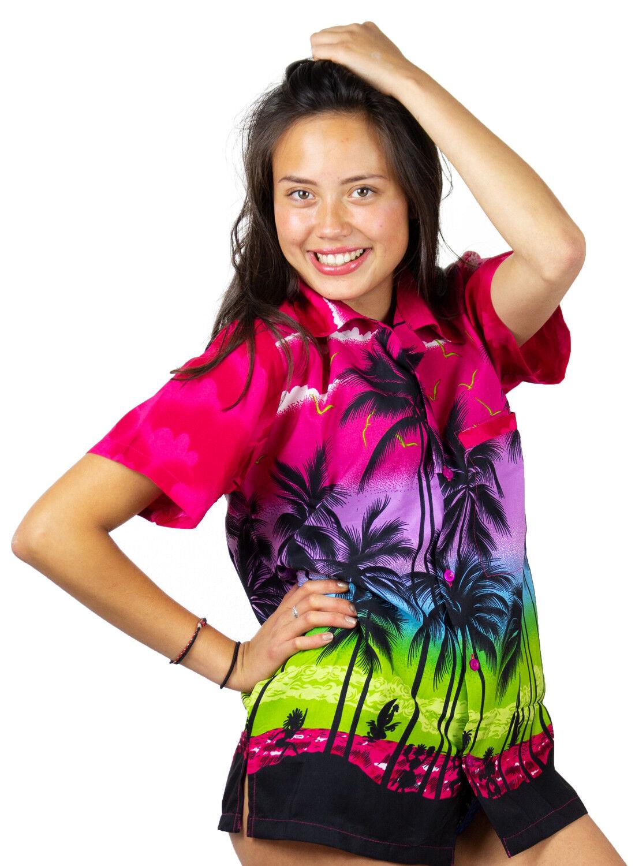 Funky Hawaiibluse Hawaiihemd Damen Beach Pink Unisex