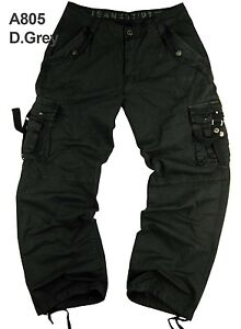 BNWT: MENS sizes:32-44 MILITARY-STYLE (Heavy Canvas) CARGO PANTS #A805