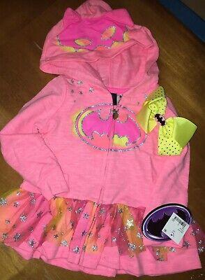 Toddler Girls Batman Hoodie Skirted Jacket Costume NWT 3T Hairbow](Batman Toddler Girl Costume)