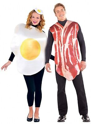 Couples Ladies AND Mens Bacon & Egg Breakfast Food Fancy Dress Costumes - Bacon Dress Costume