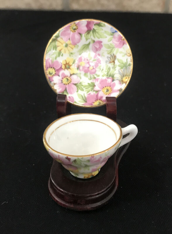"Rare 3/4"" Mini Rosina Bone China Chintz TEACUP & SAUCER, #5005, England"