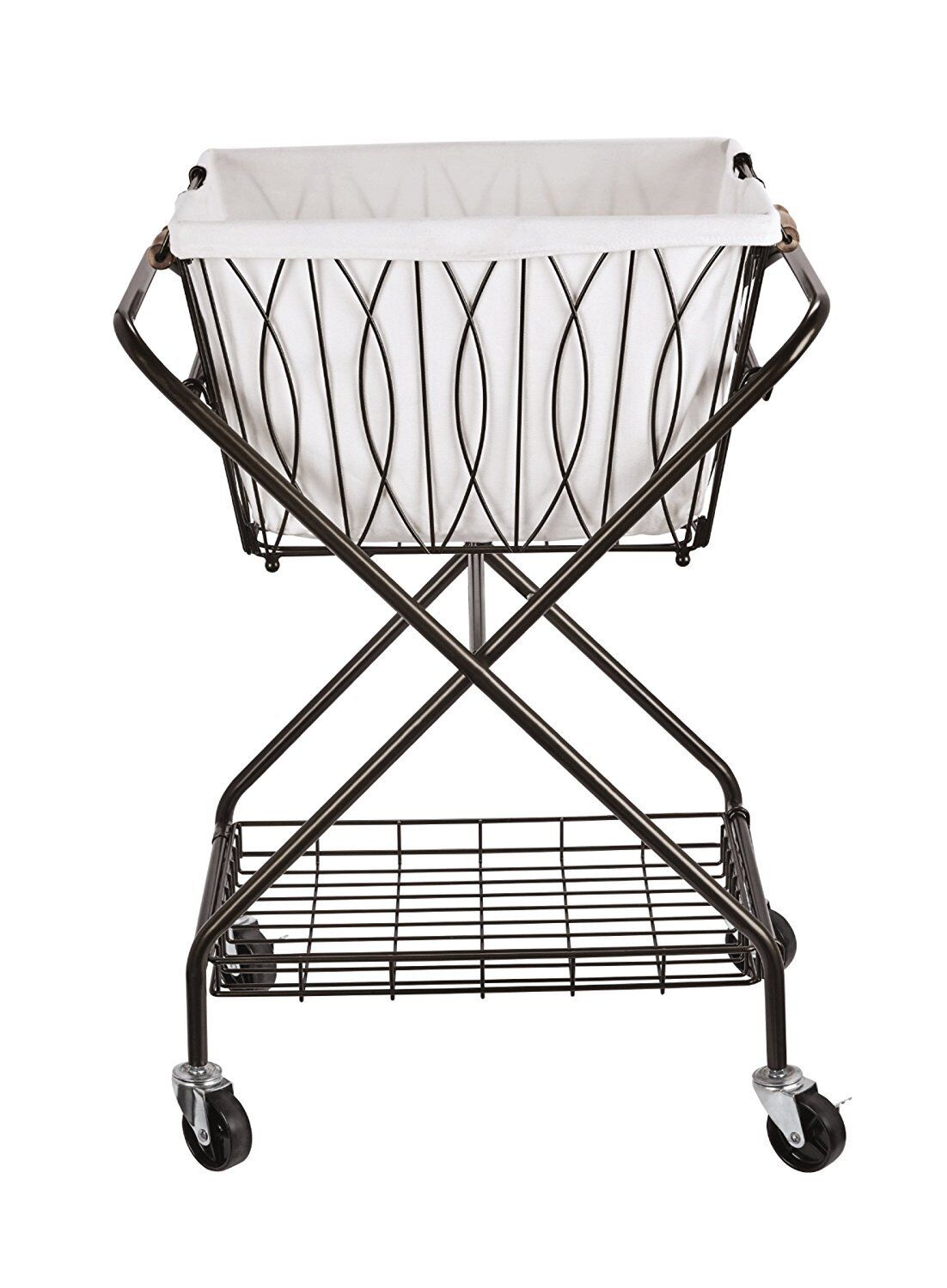 Folding Metal Laundry Cart With Wheels Removable Basket Stor