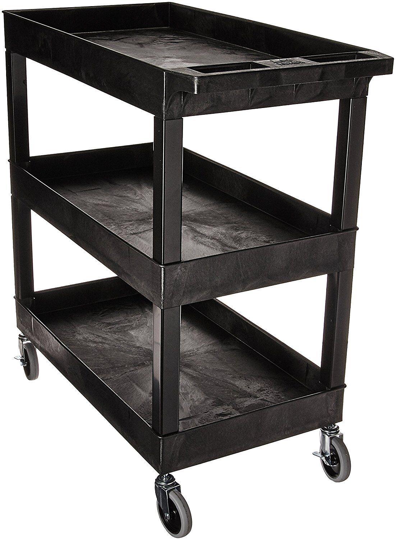 """Luxor EC111-B Tub Storage Cart 3 Shelves - Black, 32"""" x 18"""""""