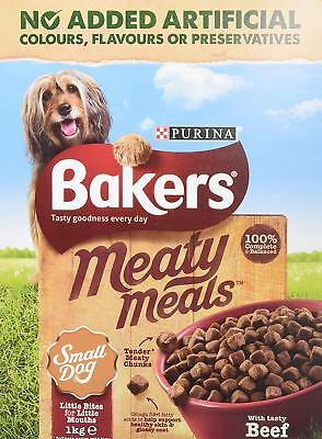 Small Dog Food Beef Meaty Meals Value Multipack x4 Bakers Meat Chunks Skin Coat