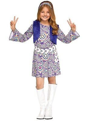 Groovy 60's Mod Hippie Shaggy Chic Child Costume, Blue
