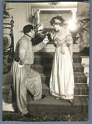 France, Bal Costumé Empire. Mr. et Mme Mamelouk  Vintage silver print. Mode d&#0 (Mr D Costume)