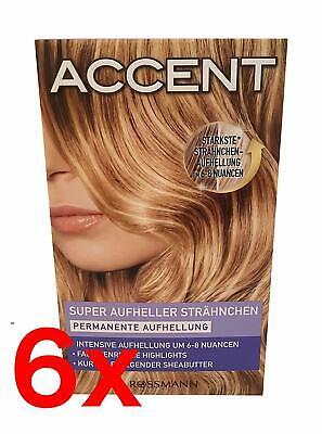 6x Accent Haarfarbe Super Aufheller / Strähnchen Permanente Aufhellung,BLOND NEU