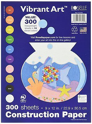 NEW Roselle 9x12 Vibrant Art Heavyweight 300 Sheets Construction Paper-10 COLORS