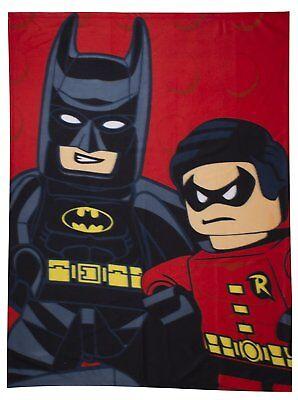 LEGO DC KAPOW SUPERHERO BATMAN ROBIN BOYS POLAR FLEECE BLANKET THROW 100x150 (Lego Batman Bettwäsche)