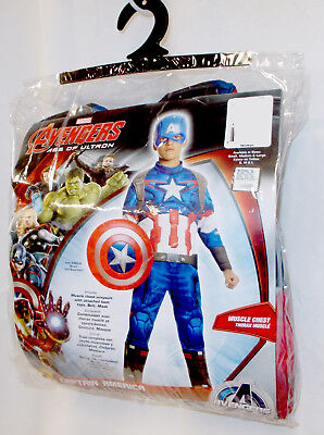 Avengers Age Of Ultron Captain America Costume (Captain America Avengers Age of Ultron Child Muscle Costume Jumpsuit Mask S M)