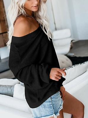 Loose Off Shoulder Sweater Deep V Neck Black for Women Waffle Knit Sexy Casual